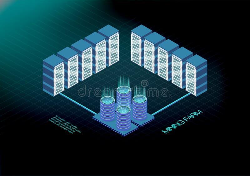 Isometric έμβλημα με το αγρόκτημα μεταλλείας bitcoin, έννοια μεταλλείας cryptocurrency, ελεύθερη απεικόνιση δικαιώματος