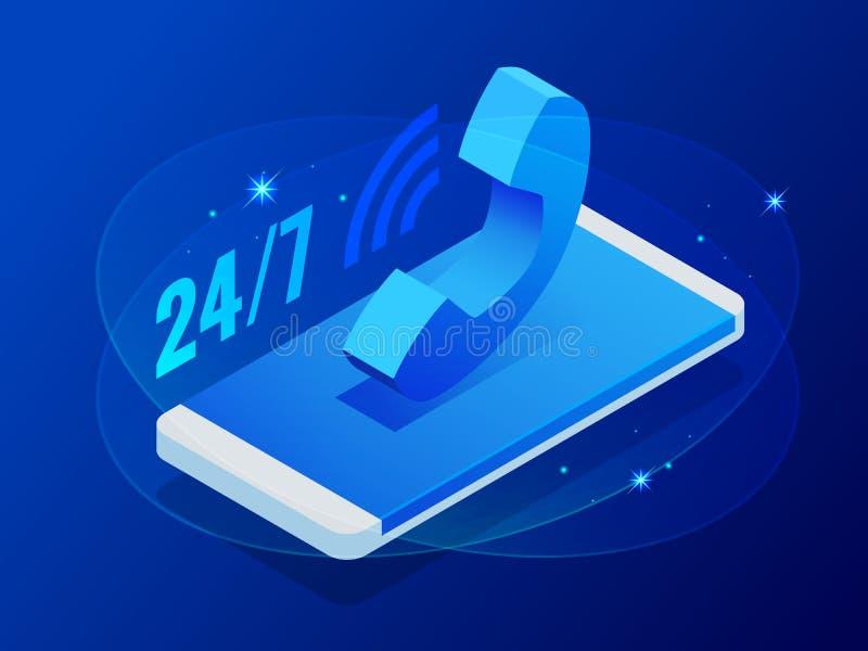 Isometric έμβλημα της υπηρεσίας 24 7, ανοικτός, της εξυπηρέτησης πελατών, υποστήριξη, τηλεφωνικό κέντρο βοήθειας, ε-κατάστημα, έκ ελεύθερη απεικόνιση δικαιώματος