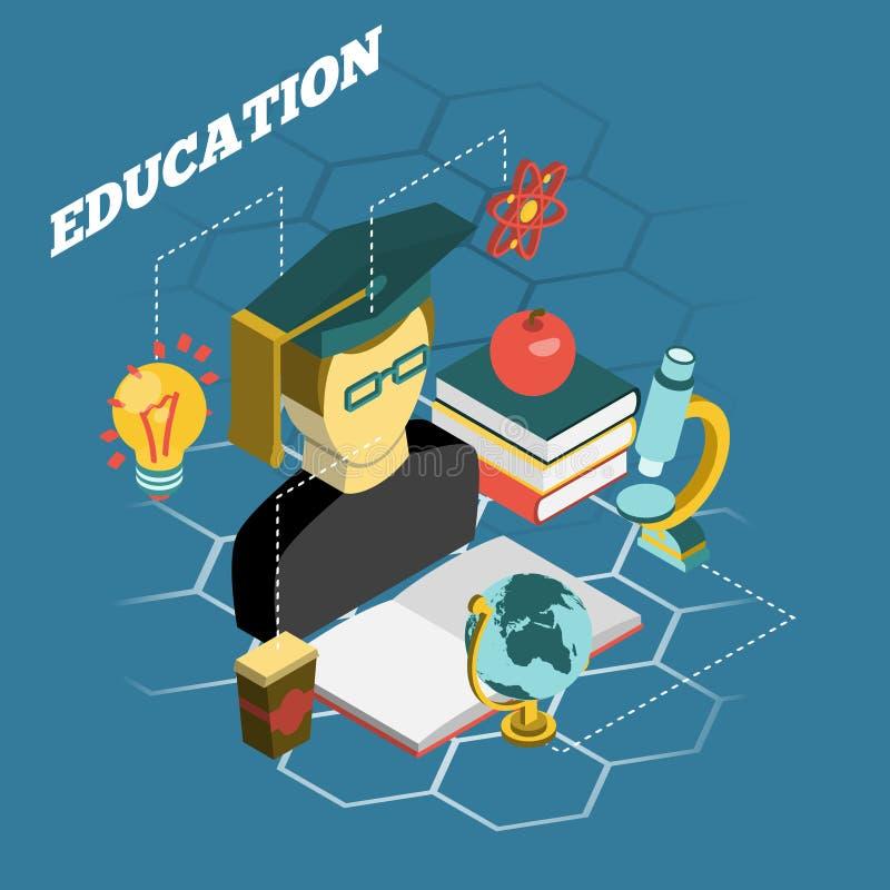 Isometric έμβλημα έννοιας ανάγνωσης εκπαίδευσης ελεύθερη απεικόνιση δικαιώματος