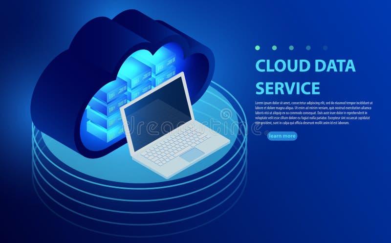 Isometric έννοια αποθήκευσης σύννεφων Αποθήκευση στοιχείων σύννεφων οπίσθιου μέρους συγχρονισμού με το lap-top διανυσματική απεικόνιση