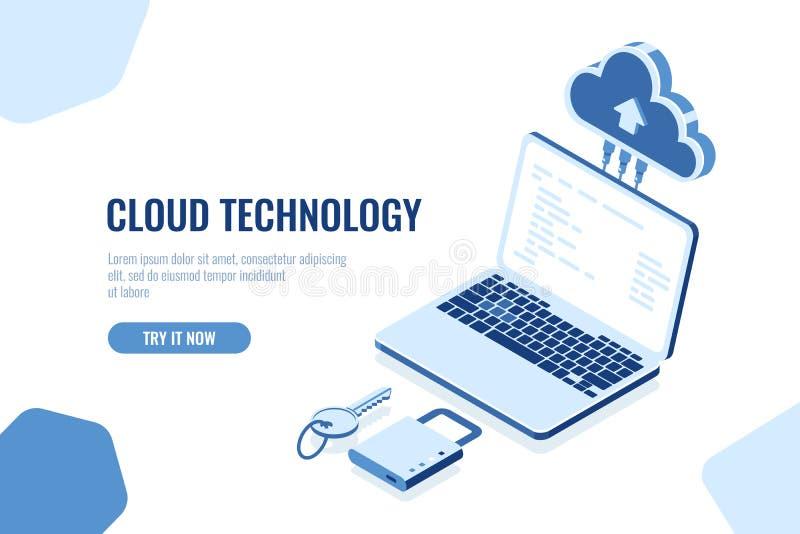 Isometric έννοια ασφαλείας δεδομένων, τεχνολογία αποθήκευσης σύννεφων, μακρινή βάση δεδομένων δωματίων κεντρικών υπολογιστών μετα ελεύθερη απεικόνιση δικαιώματος