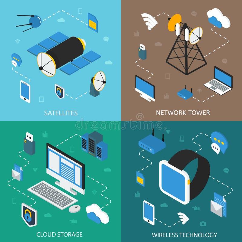 Isometric έννοια ασύρματης τεχνολογίας ελεύθερη απεικόνιση δικαιώματος