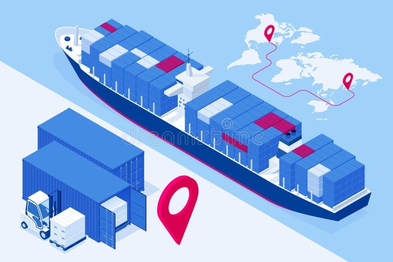 Isometric έννοια διοικητικών μεριμνών θαλάσσιων μεταφορών Μεταφορικά κιβώτια παράδοσης ή βαρκών φορτίου σκαφών και κιβώτια δεμάτω ελεύθερη απεικόνιση δικαιώματος