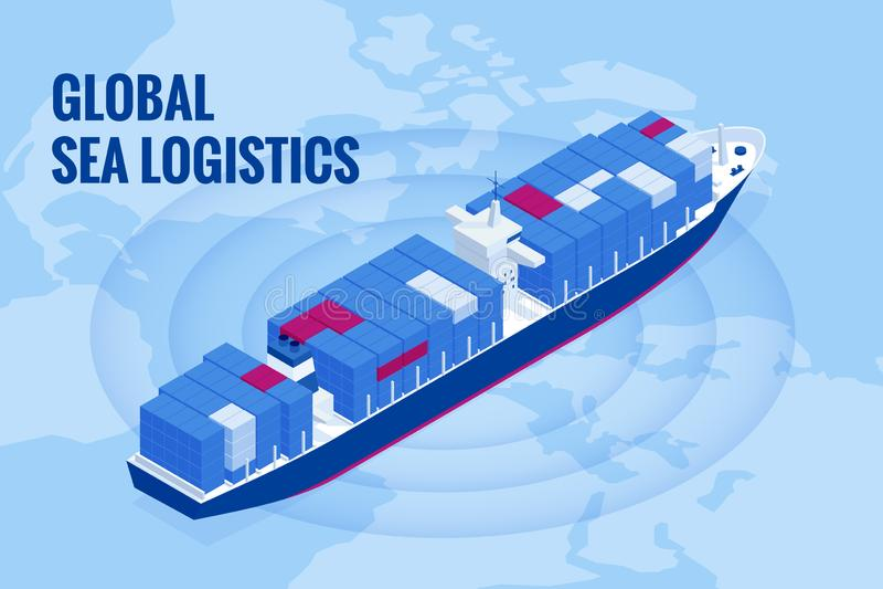 Isometric έννοια διοικητικών μεριμνών θαλάσσιων μεταφορών Μεταφορικά κιβώτια παράδοσης ή βαρκών φορτίου σκαφών και κιβώτια δεμάτω διανυσματική απεικόνιση