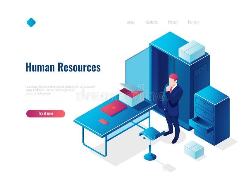 Isometric έννοια εικονιδίων ανθρώπινων δυναμικών ωρ., απασχόληση, γραφείο μέσα στο εσωτερικό, πίνακας με την καρέκλα, σκέψη ανθρώ απεικόνιση αποθεμάτων