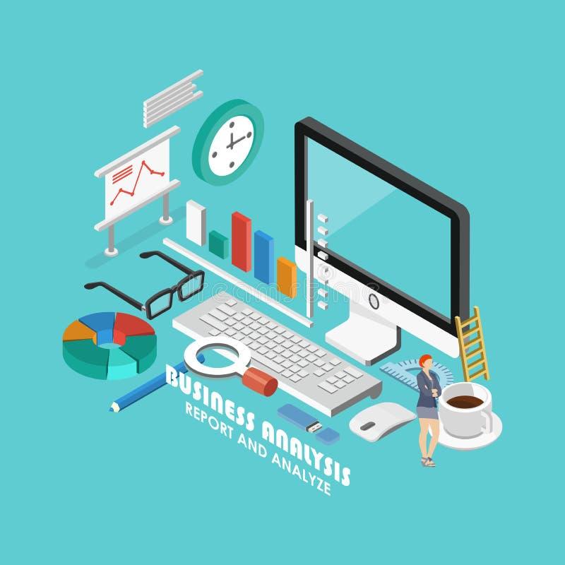 Isometric έννοια επιχειρησιακού analytics Η έκθεση και αναλύει απεικόνιση αποθεμάτων
