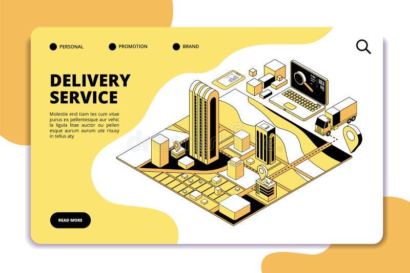 Isometric έννοια παράδοσης Λογιστική και στέλνοντας υπηρεσία αποθηκών εμπορευμάτων με το φορτηγό, συσκευασία και χάρτης πόλεων Τη διανυσματική απεικόνιση