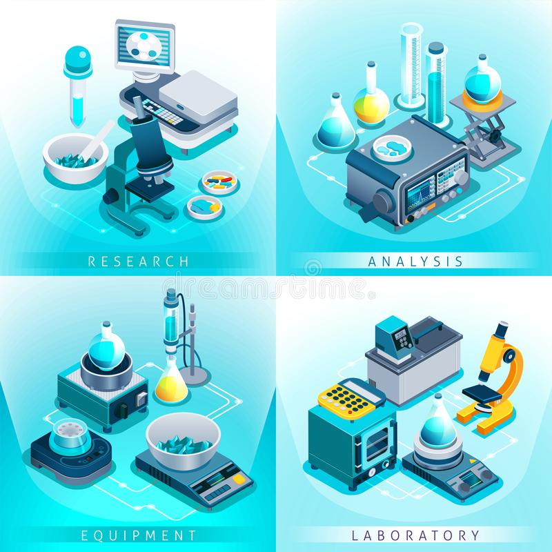 Isometric έννοια σχεδίου εργαστηριακού εξοπλισμού απεικόνιση αποθεμάτων