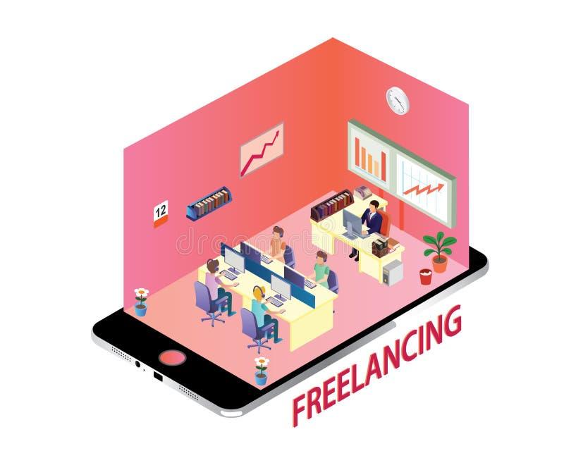Isometric έννοια σχεδίου της κοινοτικής εργασίας Freelancing από το σπίτι διανυσματική απεικόνιση