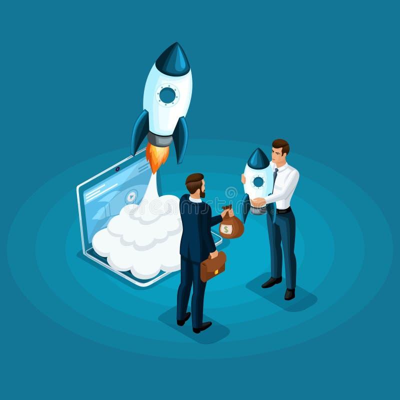 Isometric έννοια της επένδυσης των χρημάτων για την ανάπτυξη του ξεκινήματος ICO, έναρξη πυραύλων Επιχειρησιακή συνεδρίαση επιχει διανυσματική απεικόνιση
