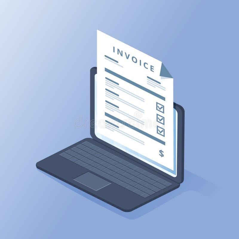 Isometric έννοια τιμολογίων Πληρωμή, λογαριασμοί, παραλαβές, τιμολόγια Επίπεδο σχέδιο, αφηρημένη διανυσματική απεικόνιση _ διανυσματική απεικόνιση