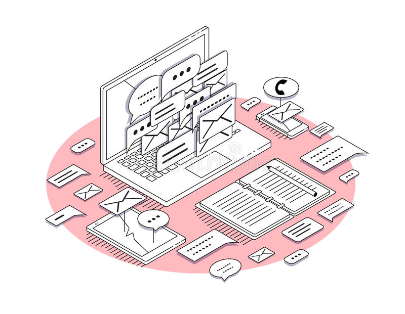 Isometric έννοια του εργασιακού χώρου με τον εξοπλισμό lap-top και γραφείων ελεύθερη απεικόνιση δικαιώματος