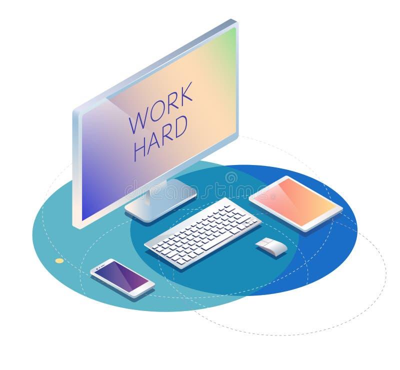 Isometric έννοια του εργασιακού χώρου με τον υπολογιστή, κινητό τηλέφωνο, tabl διανυσματική απεικόνιση