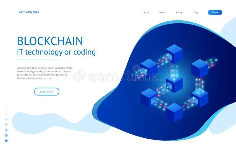 Isometric έννοια των κβαντικών υπολογιστών, blockchain, της τεχνολογίας ΤΠ ή της κωδικοποίησης Φραγμοί πληροφοριών στον κυβερνοχώ απεικόνιση αποθεμάτων