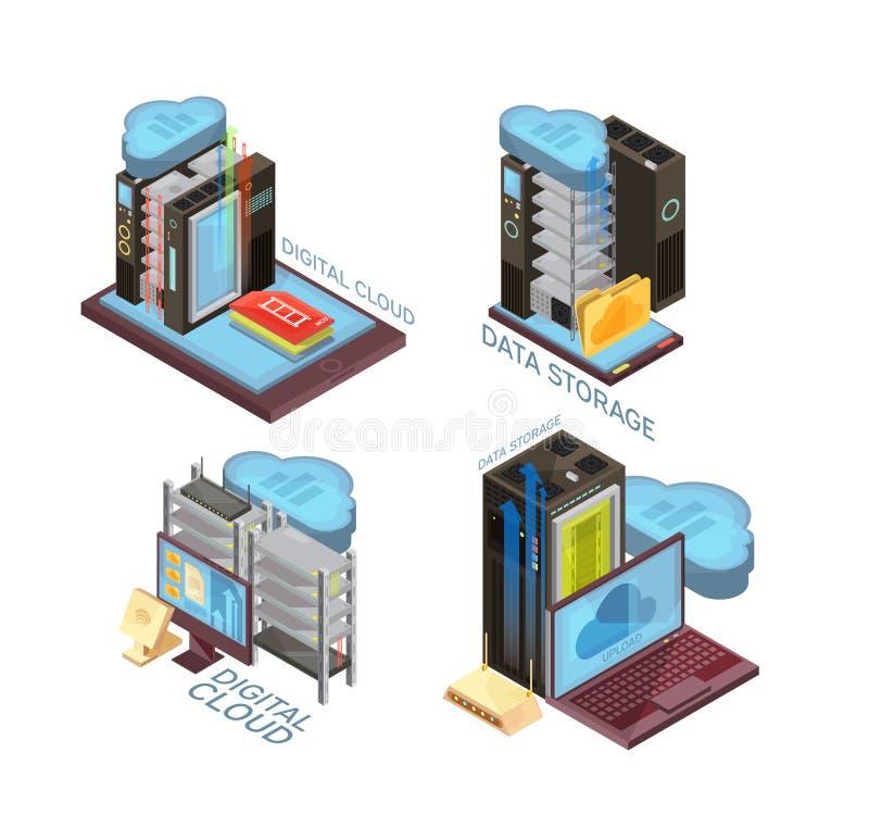 Isometric έννοια υπηρεσιών σύννεφων στοιχείων ελεύθερη απεικόνιση δικαιώματος