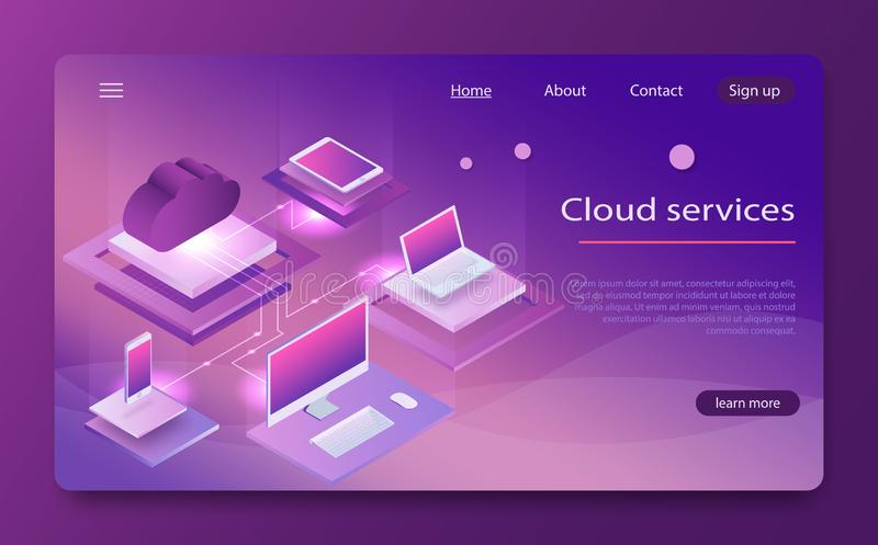 Isometric έννοια υπηρεσιών υπολογισμού σύννεφων Αποθήκευση σύννεφων εννοιών διανυσματική απεικόνιση