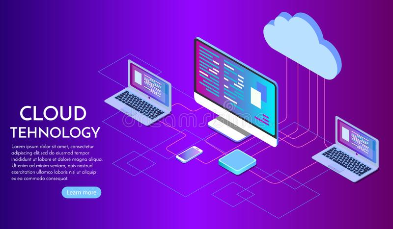 Isometric έννοια υπηρεσιών υπολογισμού σύννεφων Διανυσματική απεικόνιση που παρουσιάζει κεντρικούς υπολογιστές lap-top και δικτύο διανυσματική απεικόνιση