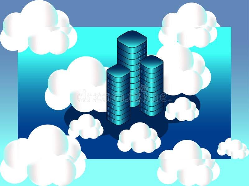 Isometric έννοια υπηρεσιών υπολογισμού σύννεφων στοκ εικόνα με δικαίωμα ελεύθερης χρήσης