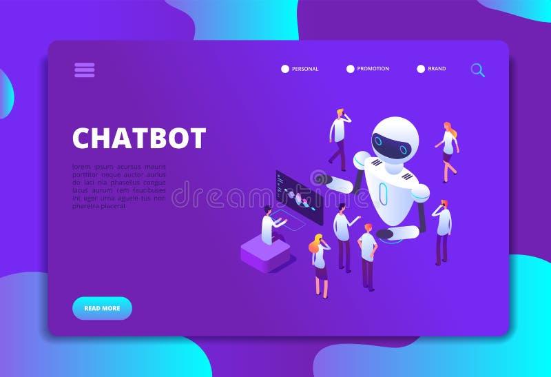 Isometric έννοια Chatbot BOT που κουβεντιάζει με τους ανθρώπους Μελλοντικό διάνυσμα τεχνολογίας συνομιλίας τεχνητής νοημοσύνης απεικόνιση αποθεμάτων