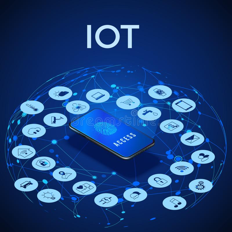 Isometric έννοια IOT Ψηφιακό σφαιρικό οικοσύστημα Παρακολούθηση και έλεγχος από το smartphone r διανυσματική απεικόνιση