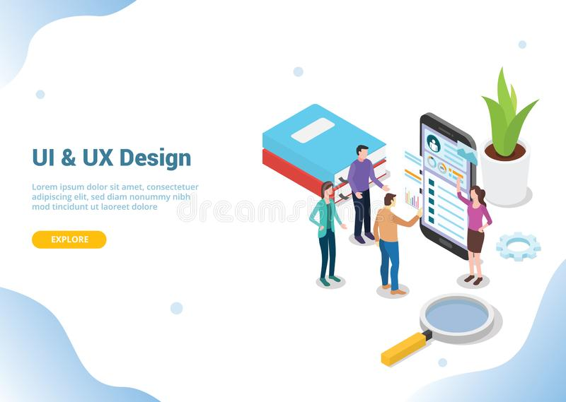Isometric έννοια ui και ux σχεδιαστών με τους ανθρώπους ομάδων που εργάζονται στο smartphone για το προσγειωμένος έμβλημα σελίδων διανυσματική απεικόνιση