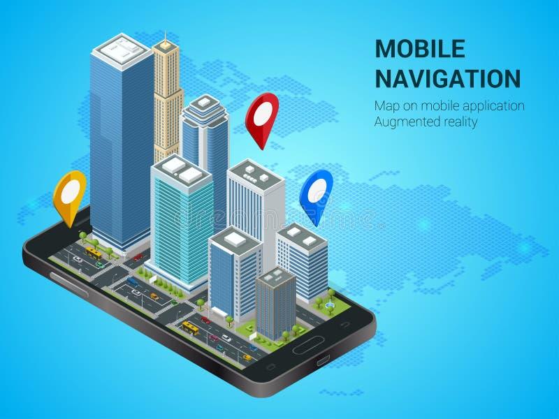 Isometric έξυπνη πόλη ή κινητή έννοια ναυσιπλοΐας Κινητές ναυσιπλοΐα ΠΣΤ και έννοια καταδίωξης Smartphone με το χάρτη πόλεων ελεύθερη απεικόνιση δικαιώματος