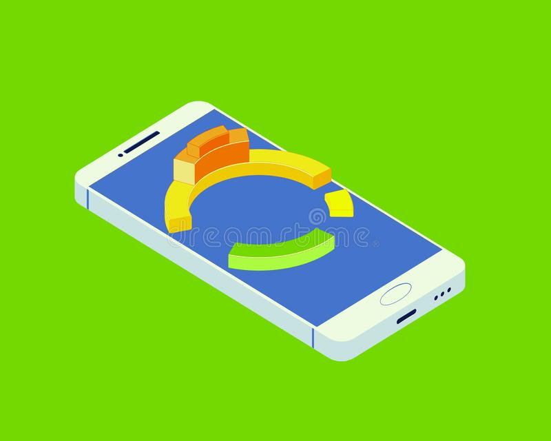 Isometric έξυπνο τηλέφωνο με την επιχείρηση διαγραμμάτων Με το ακτινωτό διάγραμμα διαγραμμάτων απεικόνιση αποθεμάτων