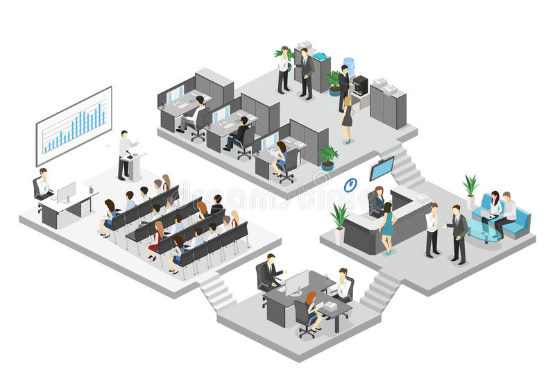 Isometric αίθουσα συνδιαλέξεων, γραφεία, εργασιακοί χώροι, διευθυντής του εσωτερικού γραφείων στοκ εικόνα