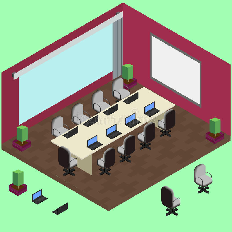 Isometric αίθουσα συνδιαλέξεων με το lap-top, πίνακας, πολυθρόνες ελεύθερη απεικόνιση δικαιώματος