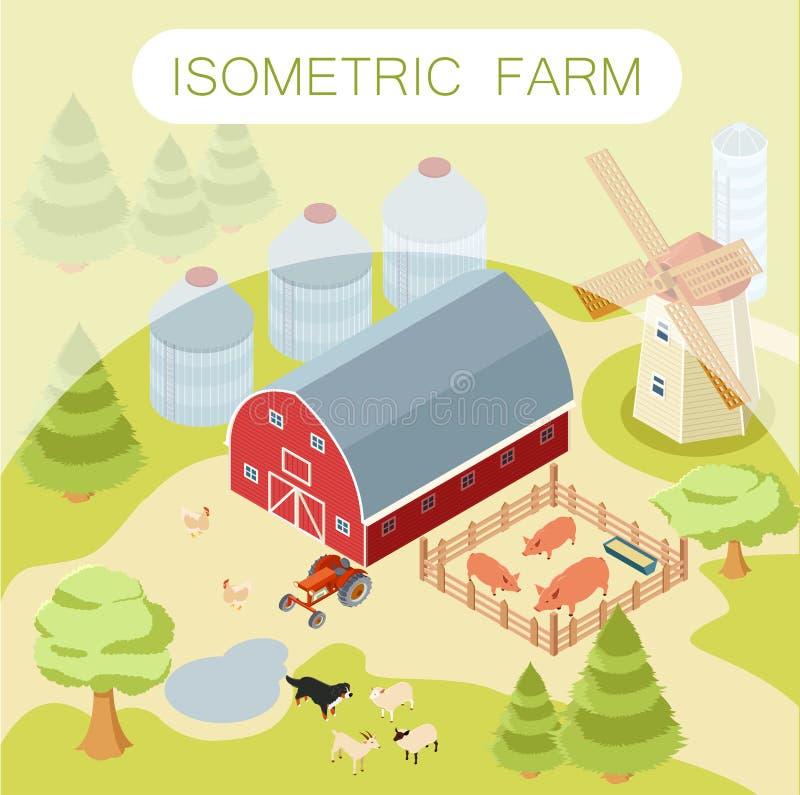 Isometric αγροτικό έμβλημα απεικόνιση αποθεμάτων