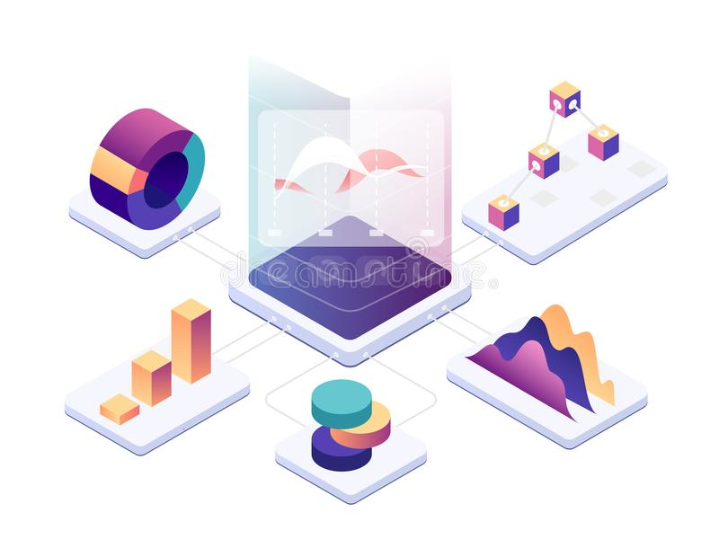 Isometric ανάλυση στοιχείων Σύγχρονη ψηφιακή γραφική παράσταση και διαγράμματα που αναλύουν τις στατιστικές Διανυσματική τρισδιάσ ελεύθερη απεικόνιση δικαιώματος