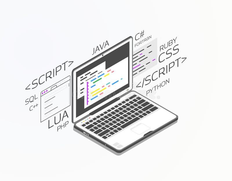 Isometric ανάπτυξη λογισμικού απεικόνιση αποθεμάτων