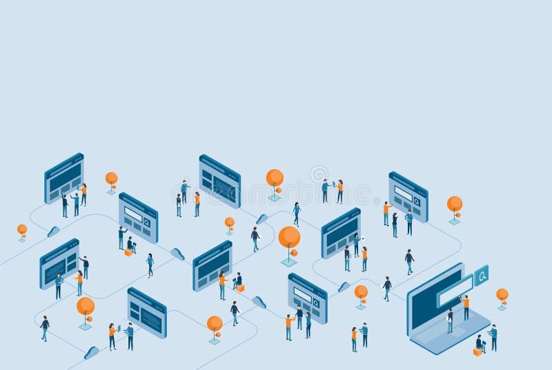 Isometric ανάπτυξη σχεδίου ιστοσελίδας και ψηφιακή επιχειρησιακή σε απευθείας σύνδεση έρευνα διανυσματική απεικόνιση