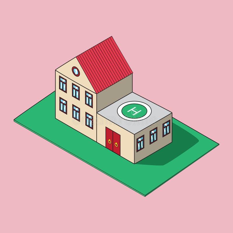 Isometric απεικόνιση Εικονίδιο σπιτιών ελεύθερη απεικόνιση δικαιώματος