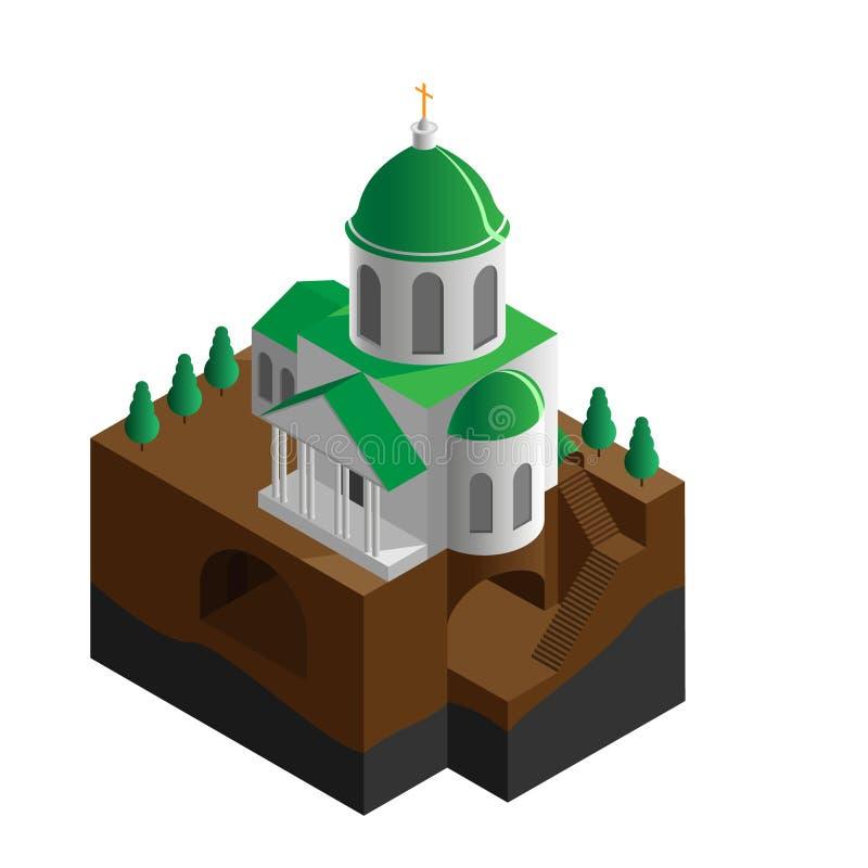 Isometric απεικόνιση της Ορθόδοξης Εκκλησίας με υπόγειο, διάνυσμα διανυσματική απεικόνιση