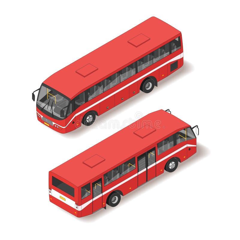 Isometric απεικόνιση του κόκκινου λεωφορείου διανυσματική απεικόνιση