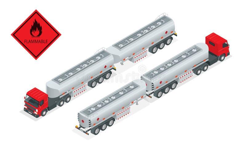 Isometric απεικόνιση φορτηγών βυτιοφόρων αερίου καυσίμων Φορτηγό με το διάνυσμα καυσίμων Στέλνοντας καύσιμα βυτιοφόρων αυτοκίνητω