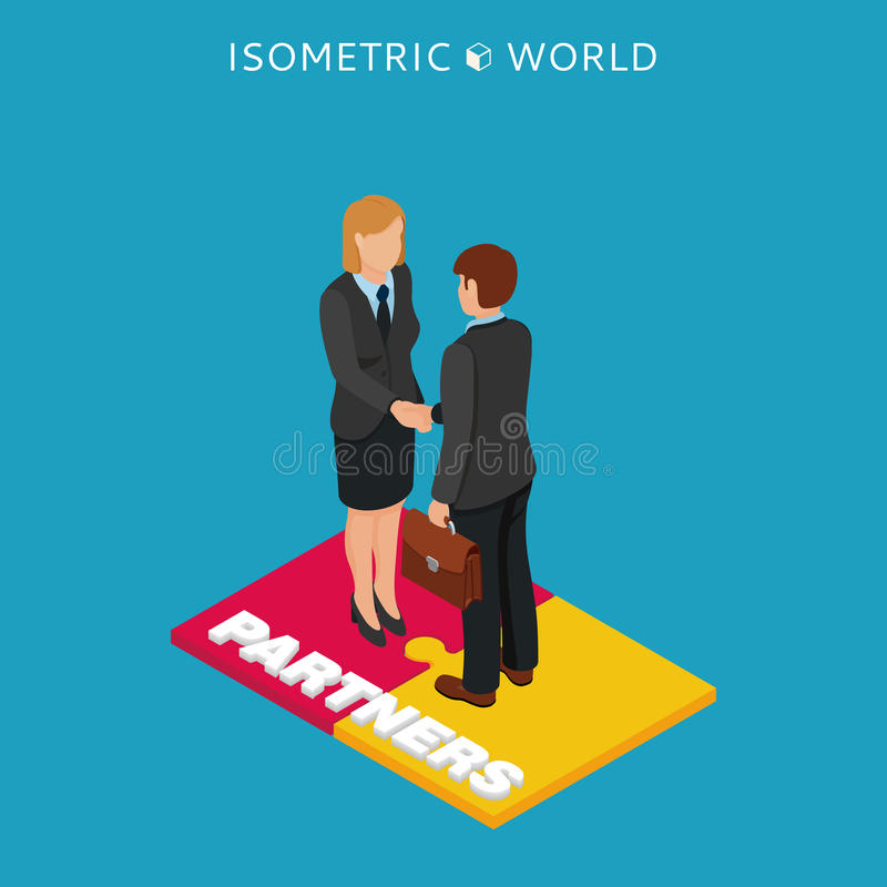 Isometric απεικόνιση χειραψιών επιχειρηματιών και γυναικών, συμφωνία επιχειρησιακής έννοιας και συνεργασία διανυσματική απεικόνιση