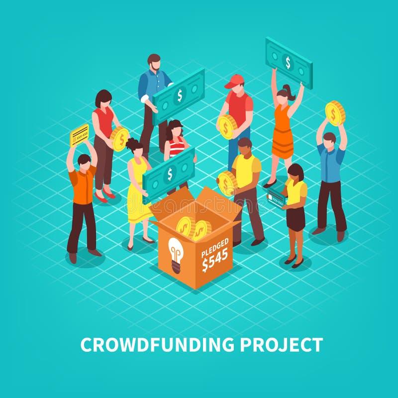 Isometric απεικόνιση Crowdfunding απεικόνιση αποθεμάτων