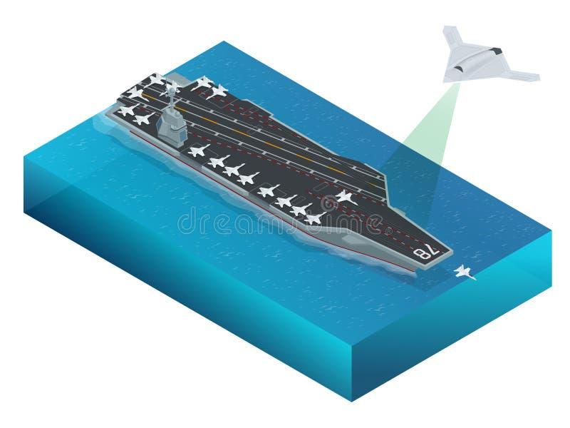 Isometric απεργία-βομβαρδιστικό αεροπλάνο μακροχρόνιας σειράς διανυσματική απεικόνιση