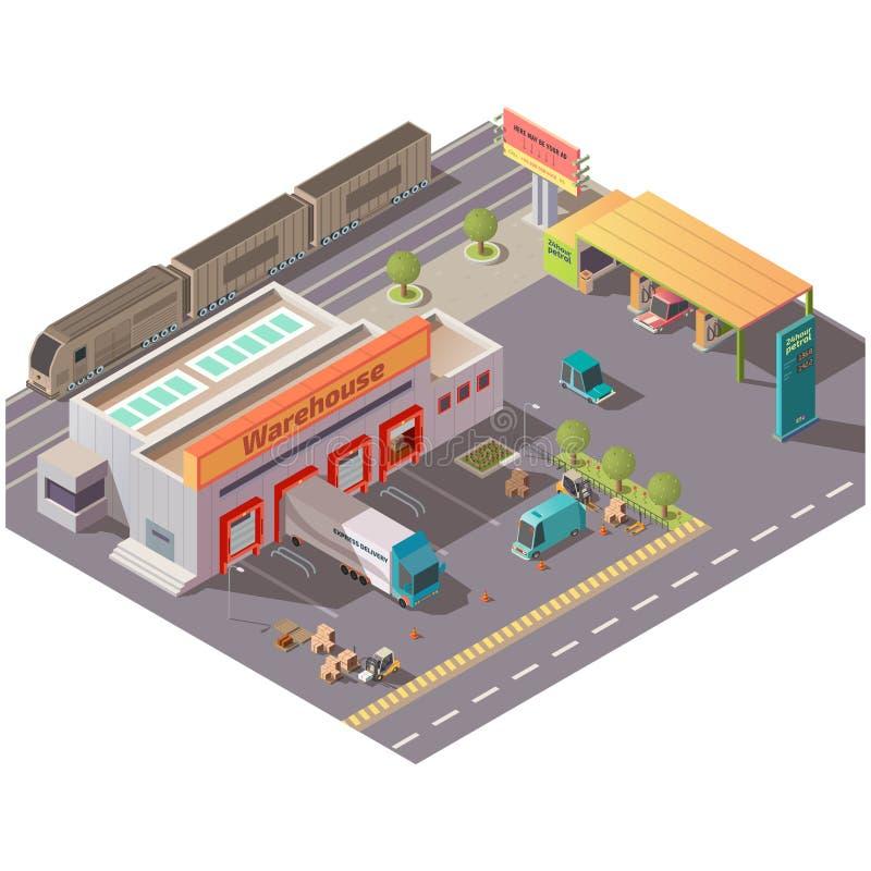 Isometric αποθήκη εμπορευμάτων και πρατήριο καυσίμων, παράδοση απεικόνιση αποθεμάτων