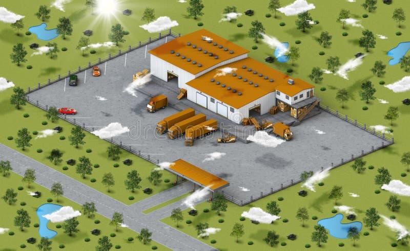 isometric αποθήκη εμπορευμάτων όψης ελεύθερη απεικόνιση δικαιώματος