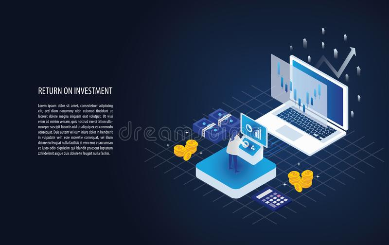 Isometric απόδοση της επένδυσης σε ένα lap-top με τον αναλυτή, το βέλος και το χρυσό νόμισμα βέλη επιχειρησιακής αύξησης στην επι απεικόνιση αποθεμάτων
