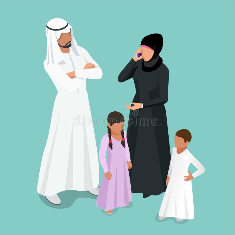 Isometric αραβική μουσουλμανική οικογένεια Αραβική οικογένεια Traditonal με την έννοια παιδιών ελεύθερη απεικόνιση δικαιώματος