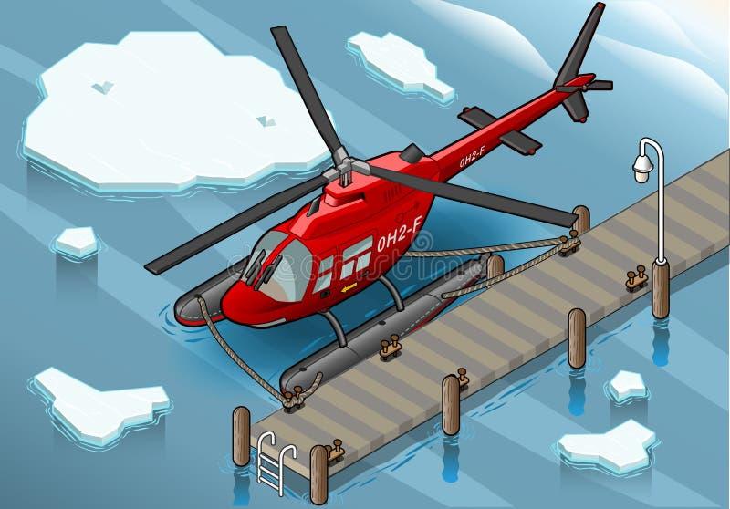 Isometric αρκτικό ελικόπτερο έκτακτης ανάγκης στην αποβάθρα διανυσματική απεικόνιση