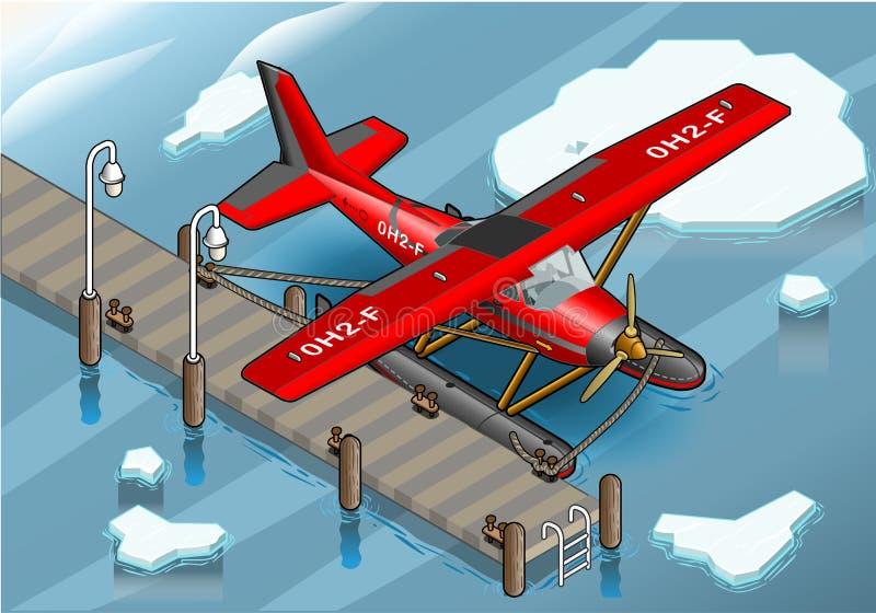 Isometric αρτικό υδροπλάνο στην αποβάθρα ελεύθερη απεικόνιση δικαιώματος