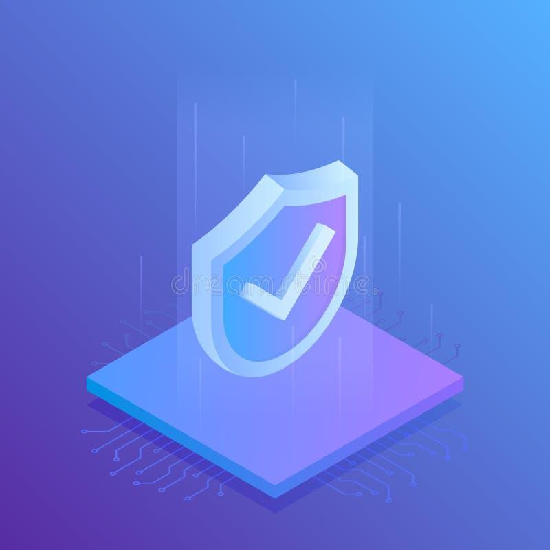 Isometric ασπίδα ασφάλειας Διαδικτύου, επιχειρησιακή έννοια σύγχρονο διάνυσμα απεικό&n διανυσματική απεικόνιση