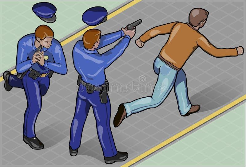 Isometric αστυνομικός και ληστής απεικόνιση αποθεμάτων