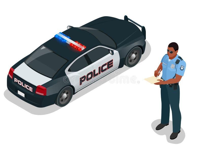 Isometric αστυνομικός και περιπολικό της Αστυνομίας με ελαφρύ να αναβοσβήσει σειρήνων Αστυνομικός σε ομοιόμορφο σύγχρονη αστυνομί διανυσματική απεικόνιση