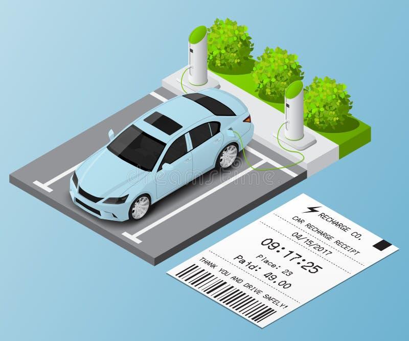 Isometric αυτοκίνητο απεικόνισης στο χώρο στάθμευσης για την επαναφόρτιση και το εισιτήριο ελεύθερη απεικόνιση δικαιώματος